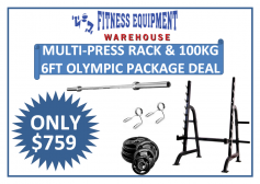 MULTI PRESS RACK & 100KG OLYMPIC 6FT BAR & WEIGHTS PACKAGE